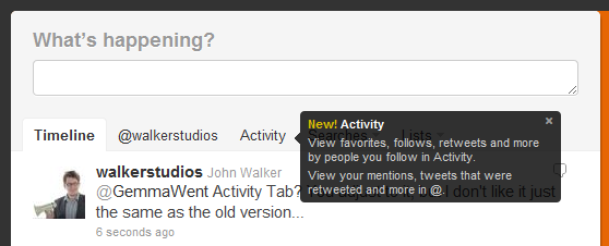 Activity Tab on Twitter